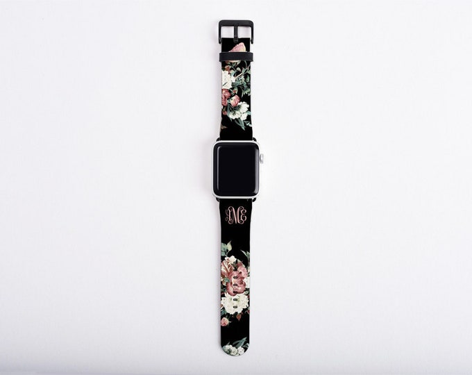 Apple Watch Band 38mm, Vintage shabby chic roses monogrammed, faux leather, 40 mm, 42 mm, 44mm,custom iWatch, personalized Apple watch strap