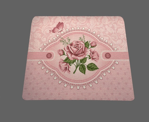 Shabby chic floral mouse pad mousepad mouse mat rectangle retro chic