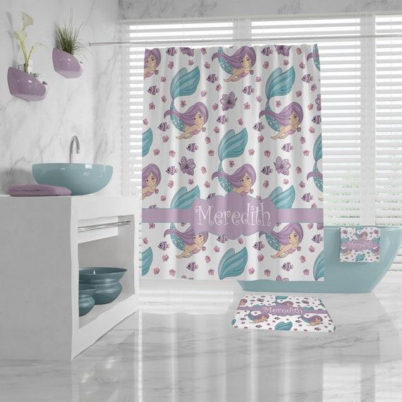 Little Mermaid Shower Curtain with name, custom Bathroom Decor girl, cute mermaid Bath Mat, personalized Hand Towel, Bath Towel, Washcloth