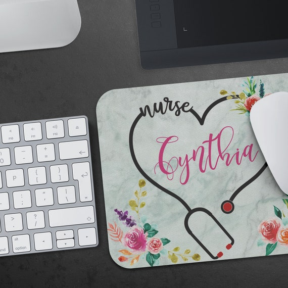 Personalized Nurse Mousepad, RN custom mouse pad, Nurse Desk Accessories, Personalized Gift for nurses, nurse graduation gift under 20
