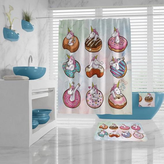 Funny Shower Curtain for Kids Bathroom, Unicorns, Donuts Bath Decor, Girls Bathroom, Unicorn Bath Mat, Hand Towel, Washcloth, Bath Towel