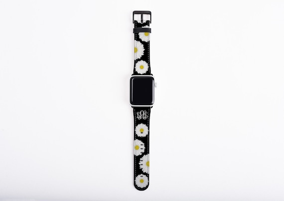 Watch Band for Apple Watch, Daisy Monogram Apple watch band, faux leather, 38 mm, 42mm, floral custom iWatch, personalized Apple watch strap
