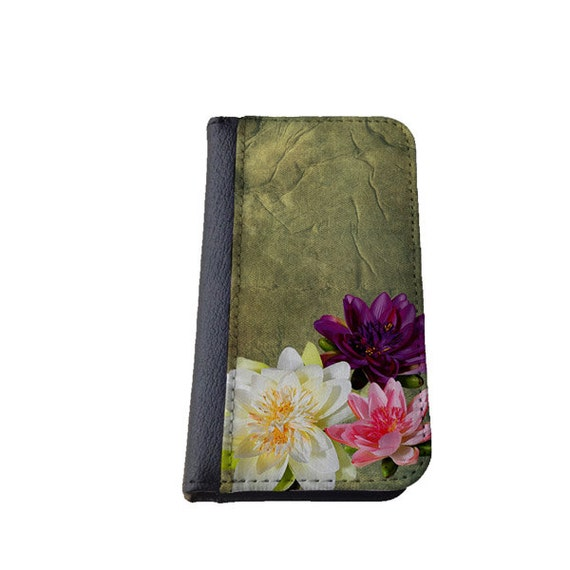 Lotus flower iPhone wallet case iPhone 6 Plus, Samsung Galaxy S6 Edge, iPhone 4s, iPhone 5c, iPhone 6, Samsung Galaxy S5, Galaxy Note 4 case