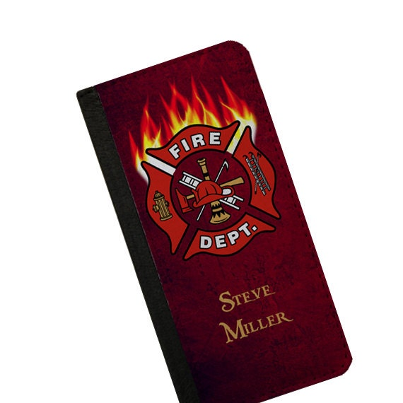 Firefighter gift for men custom name Galaxy S4 iPhone 6s case personalized phone wallet Samsung Galaxy S6 Edge iPhone 5c iPhone 6s Plus case