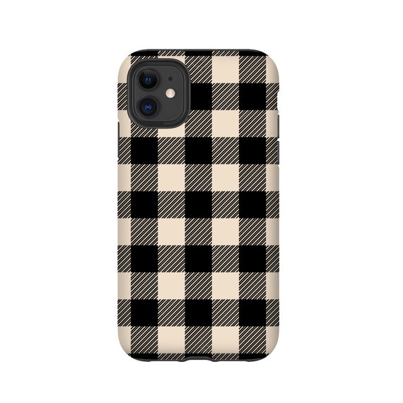 Lumberjack plaid iPhone 11 Pro Max case, cream black buffalo plaid Galaxy Note 10 Plus, iPhone XR, iPhone XS, iPhone 7, Samsung Galaxy S20