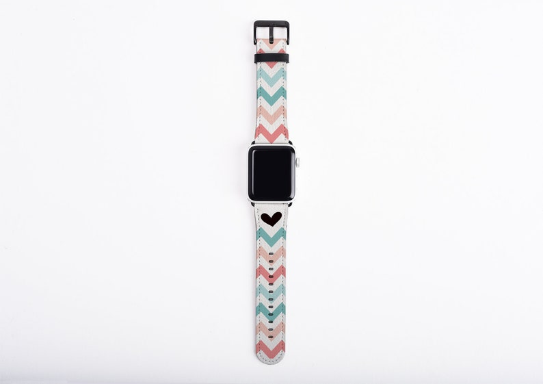 38mm Apple Watch Band Chevron for women heart teal coral image 0