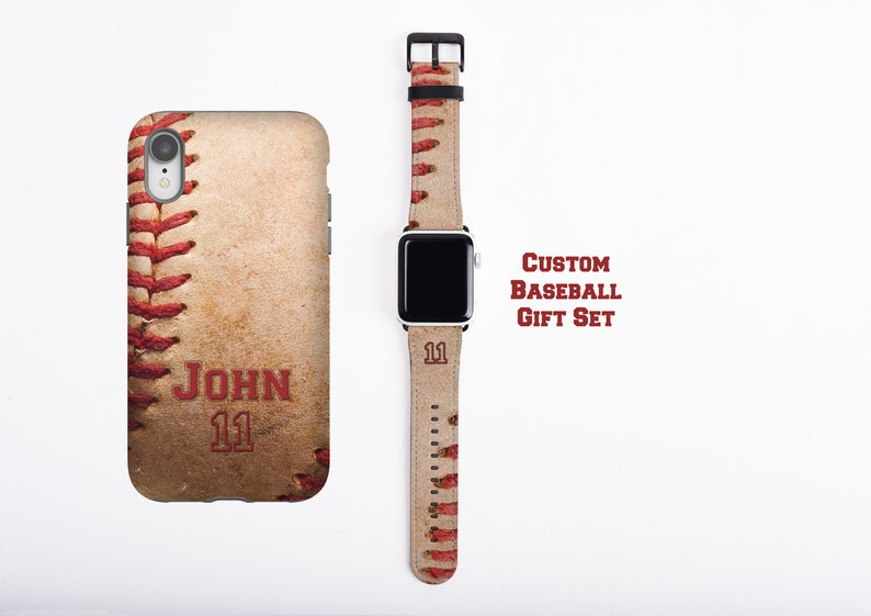 Baseball custom name and number iPhone case & Apple Watch image 0