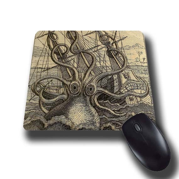 Kraken vintage octopus Giant Kraken mouse pad nautical gift for men mousepad mouse mat rectangular