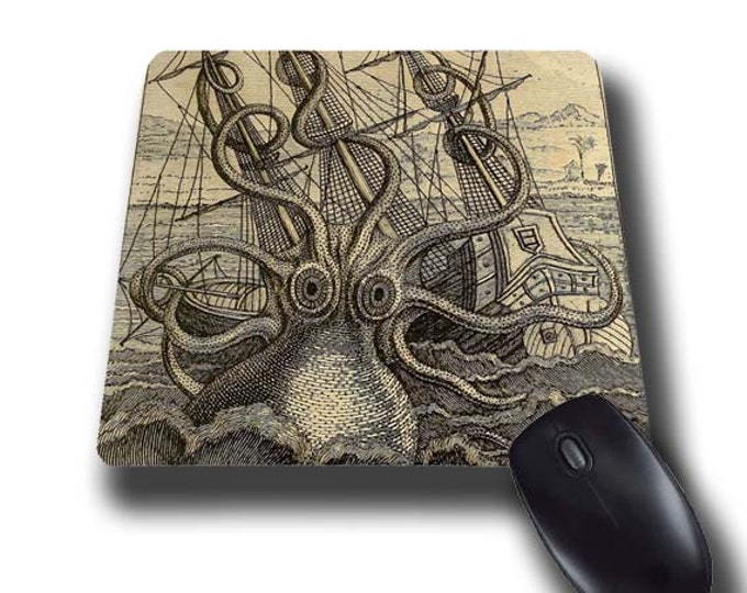 Kraken vintage octopus Giant Kraken mouse pad nautical gift for men mousepad mouse mat rectangular