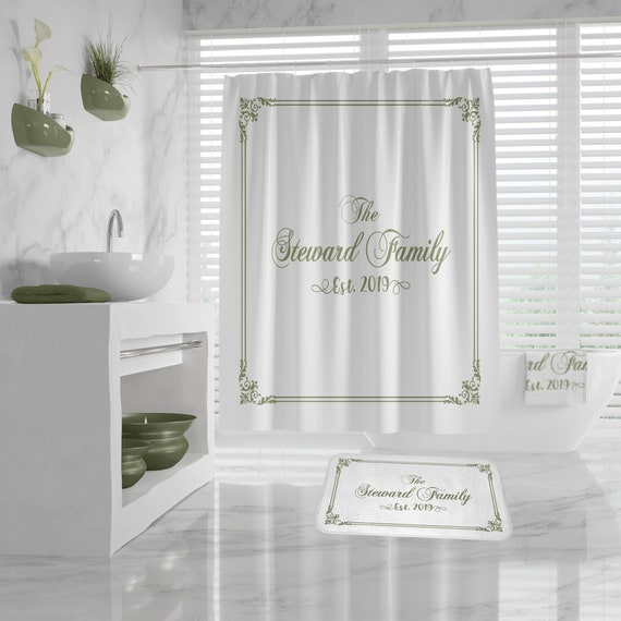 Custom Name Shower Curtain, Name Bath Mat, Custom New Home Gift, classy design Bath Decor, House Closing Gift, Custom Housewarming Gift