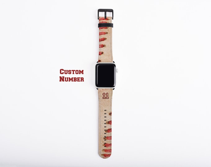 Baseball Apple Watch Band, custom number watch strap, faux leather, 38 mm, 42 mm, custom iWatch, personalized gift for boys, baseball mom