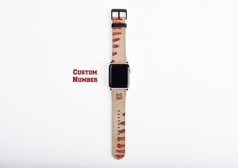 Baseball Apple Watch Band custom number watch strap faux image 0