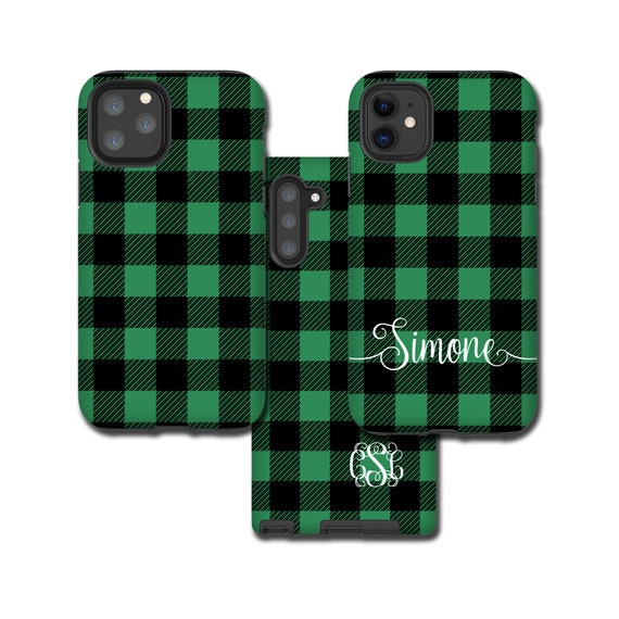 Buffalo Plaid Galaxy Note 10 Plus case sea green, personalized iPhone 11 Pro Max, Tartan Samsung Galaxy S20, iPhone XR, Galaxy S10, iPhone 8