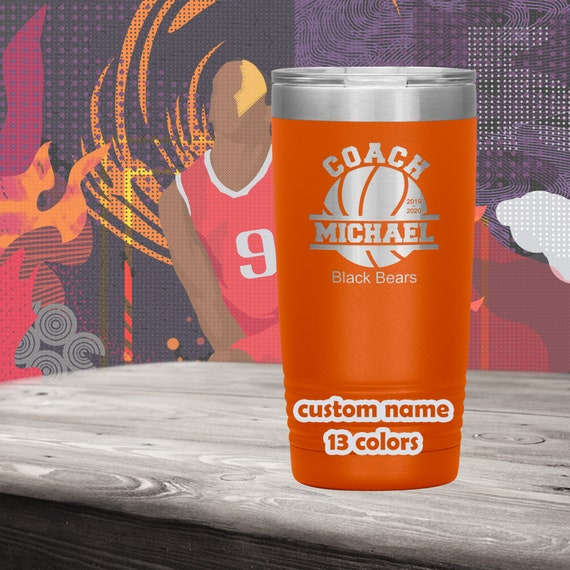 Basketball Coach Personalized Tumbler -20oz Insulated Stainless Steel Travel Mug - customized Basketball Team gift - Gift basketball coaches