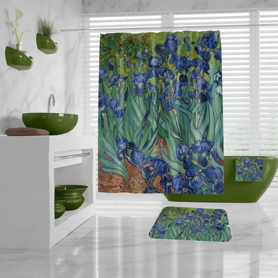Van Gogh Fine Art Shower Curtain - Irises -floral bathroom decor, hand towels, Art Bath Mat, Bath Towel, art teacher gift, different sizes
