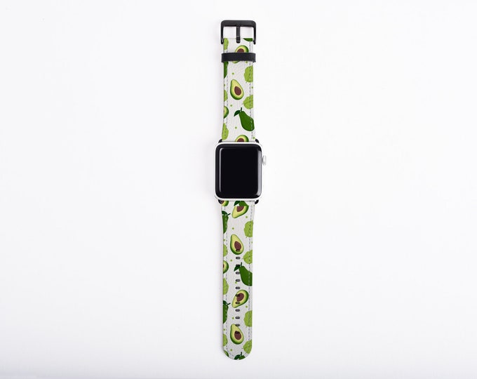 Avocado Apple Watch Band 38mm 40mm 42mm 44,mm, faux leather Apple watch strap, mexican, fits series 1 2 3 and 4, funny Apple iWatch strap