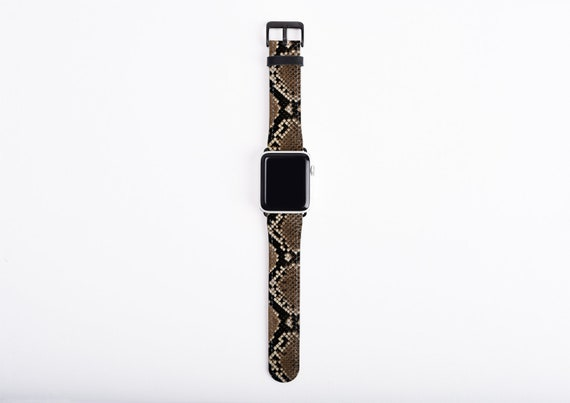 Snakeskin Print Apple Watch Band, 38mm 40mm 42mm 44,mm, faux leather Apple watch strap, vegan artificial leather, fits series 1 2 3 4 and 5