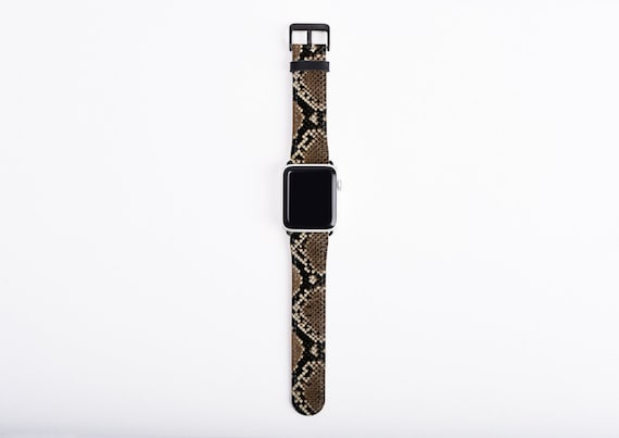 Snakeskin Print Apple Watch Band, 38mm 40mm 42mm 44,mm, faux leather Apple watch strap, vegan artificial leather, fits series 1 2 3 and 4