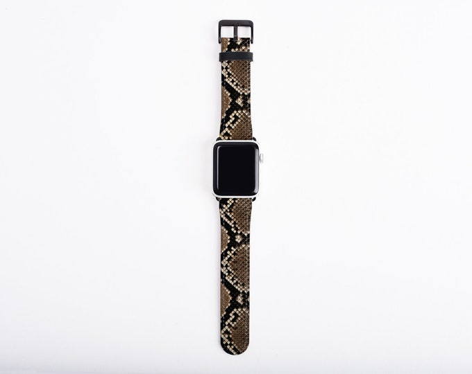 Snakeskin Print Apple Watch Band, 38mm 40mm 42mm 44mm, classy faux leather Apple watch strap, vegan artificial leather, fits all series