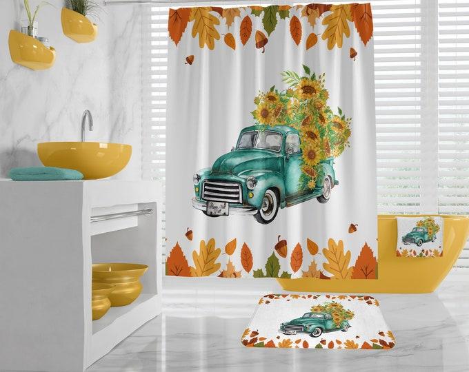 Sunflower Shower Curtain, Farmhouse Bathroom, Fall Bath Decor, Sunflower Hand Towel, Autumn themed Bath, Vintage Truck Rustic Bath Design