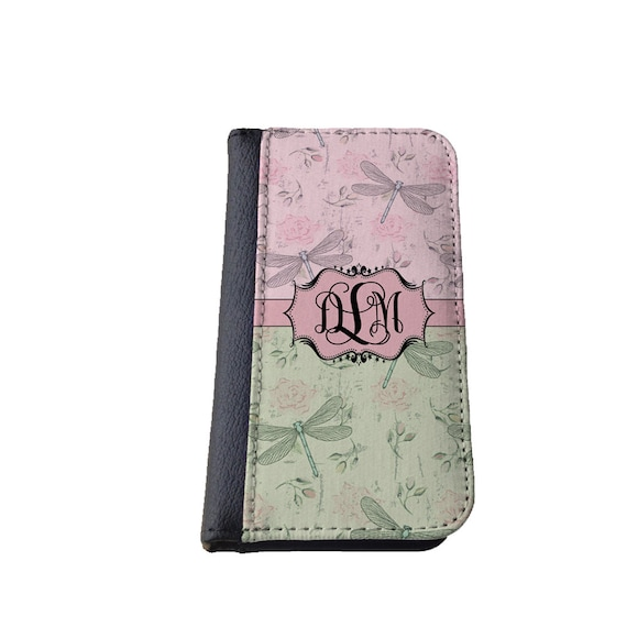 Dragonfly iPhone 6s case with monogram -Roses pink green Galaxy S4 wallet Samsung Galaxy S6 Galaxy S6 Edge iPhone 5C iPhone 4 iPhone 6 Plus