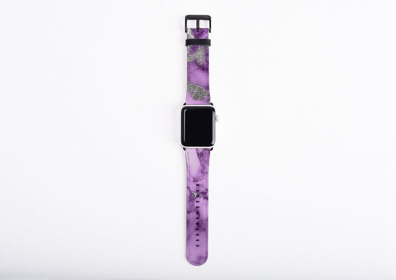 Apple Watch Band 38 mm for women purple silver marble design image 0