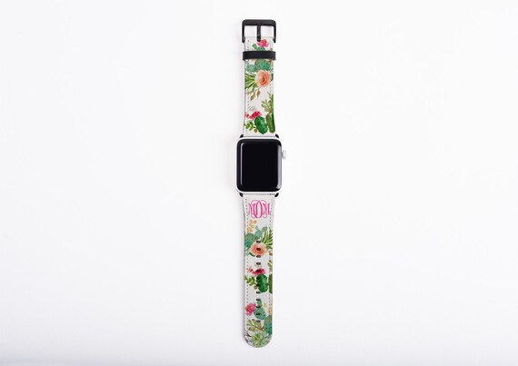 Apple Watch Band, cactus watercolor, monogram apple watch strap, faux leather, 38 mm, 42 mm, custom iWatch, personalized Apple watch strap