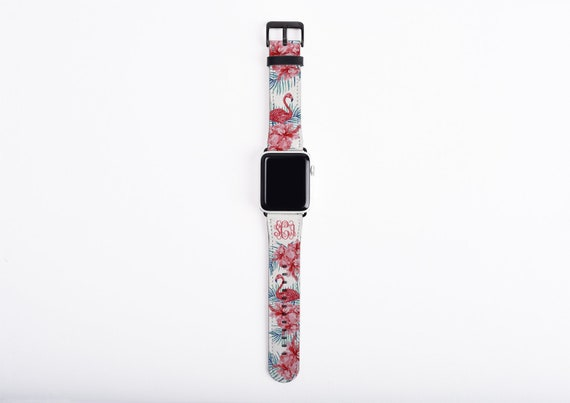 Flamingo Apple Watch Band monogram, tropical flower watch strap, faux leather, 38 mm, 42 mm, custom iWatch, personalized Apple watch strap