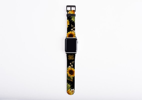 Sunflowers Apple Watch Band, monogrammed sun flower watch strap, faux leather, 38 mm, 42 mm, custom iWatch, personalized Apple watch strap