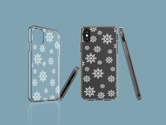 Snowflakes clear phone case, iPhone 11, Christmas Samsung Galaxy Note 10, Google Pixel 4XL, iPhone 8 Plus, iPhone XS, iPhone XR, Galaxy S10E