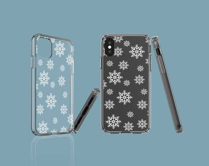 Snowflakes clear phone case, iPhone 13, Christmas Samsung Galaxy Note 10, Galaxy Note 20, iPhone 11 Pro, iPhone XS, iPhone XR, Galaxy S10E