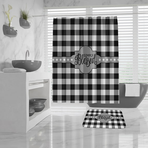 Christian Shower Curtain and Bath Mat, Buffalo Plaid black and white, Simply Blessed, Farmhouse Bathroom Design, Religious Farmhouse Bath