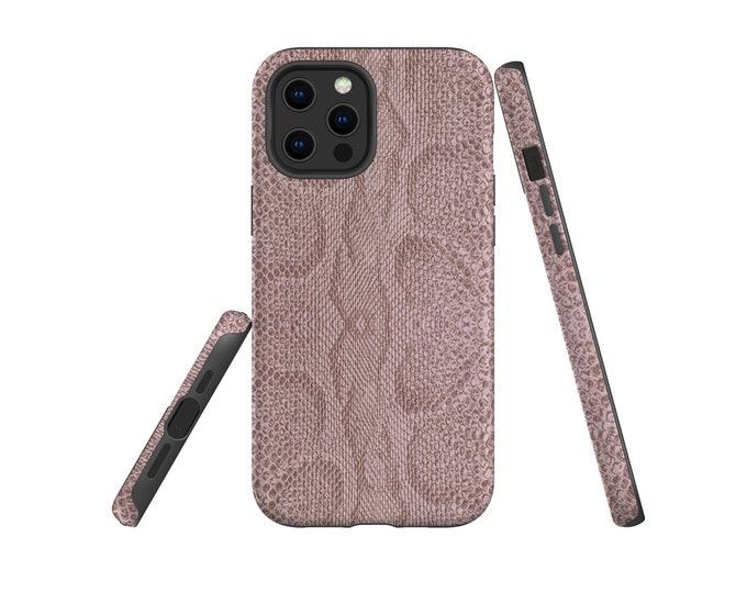 Snake Skin Mauve Taupe iPhone 12 Pro Max Case, iPhone 13, Samsung Galaxy S21, Note 10, Galaxy S20, iPhone XR, iPhone 12 mini, iPhone 8 Plus