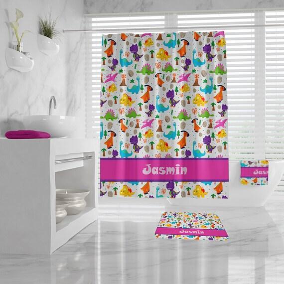 Cute Custom Dinosaur Shower Curtain, Monogrammed Name for Girls, Dinosaur Bath Mat and Towel, Kids Bathroom,customizable pink Bathroom Decor