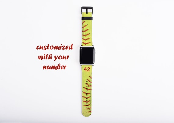 Softball Apple Watch Band, custom number watch strap, faux leather, 38 mm, 42 mm, custom iWatch, personalized gift for boys, softball mom