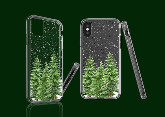 Christmas Trees iPhone 11 case, Fir Trees, clear case, Samsung Galaxy Note 10, iPhone XS, iPhone XR, Galaxy S9, Google Pixel 4XL, iPhone 8