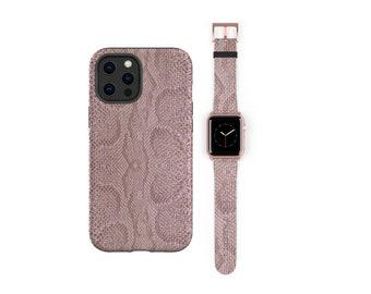 Elegant Snakeskin rose mauve iPhone case 12 Pro & Apple Watch Band all series Animal Print Watch Band Phone Case Bundle iPhone 11 iPhone XR