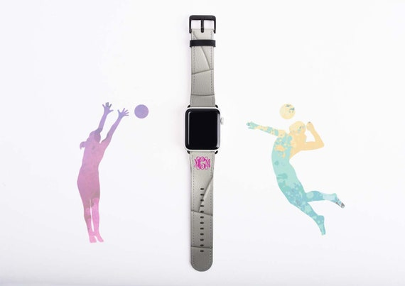 Volleyball Gift Apple Watch Band 42mm, monogram Volleyball Mom gift, faux leather, 38 mm, 42 mm, custom iWatch, personalized gift for girls