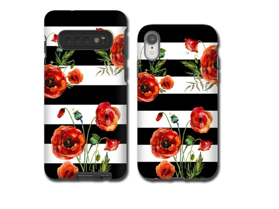 Red Poppies black and white iPhone 11 iPhone XR Samsung Galaxy S10 5G iphone 8 Plus iPhone 7 Samsung Note 9 iPhone 6 Galaxy Note 8 iPhone 5s