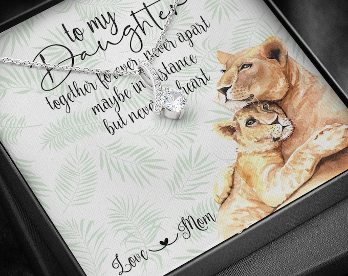 Together forever never apart Daughter Mom silver necklace, long distance gift from Mom lioness and her cub design cute message card included