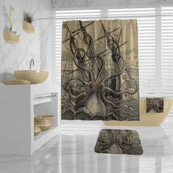 Vintage Kraken Bathroom Set, Giant Octopus Shower Curtain, Bath Towel, Bath Mat, Octopus Illustration Bathroom Decor, sea monster ocean art