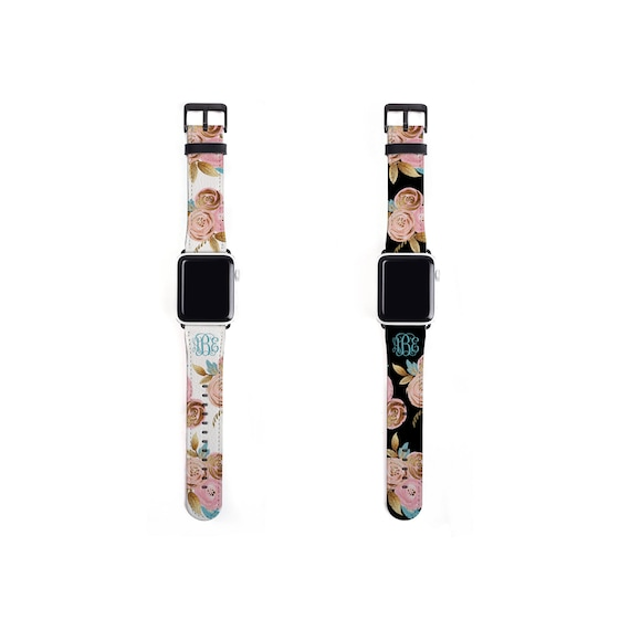 Floral Apple Watch Band, golden blush blooms, monogrammed flower watch strap, faux leather, 38 mm, 42 mm, personalized Apple watch strap