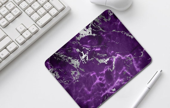 Dark Purple Silver Marble Mouse Pad, Home Office Decor, Mousepads, Desk Accessories, Mousepad, Mouse Mat, Computer Accessories, very sturdy