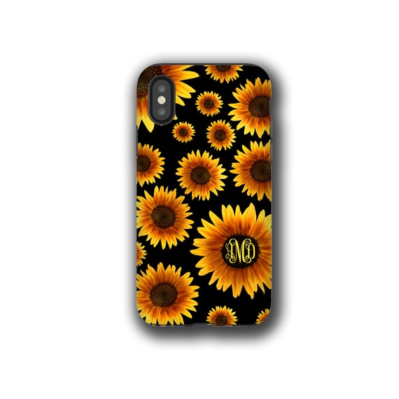 Sunflower monogram Galaxy Note 10 Plus case iPhone XR Watercolor SunFlower iPhone 8 floral iPhone 7 Galaxy Note 9 iPhone 6 Plus Galaxy S20