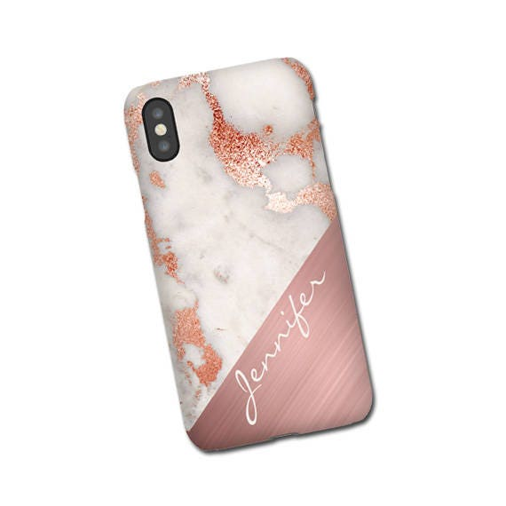 Rose gold marble mix iPhone X Case, Samsung Galaxy S20, iPhone 6s, iPhone 8 Plus, Galaxy S7 Edge Case, Monogram, Personalized, Galaxy S10 5G
