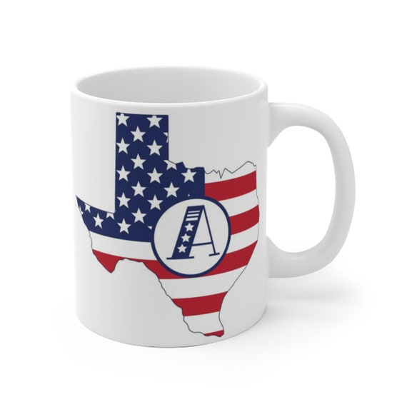 State Mug with initial Personalized, Texas ceramic coffee cup, Texas Mug, custom coffee cup, 2 different sizes, Custom America Mug,patriotic