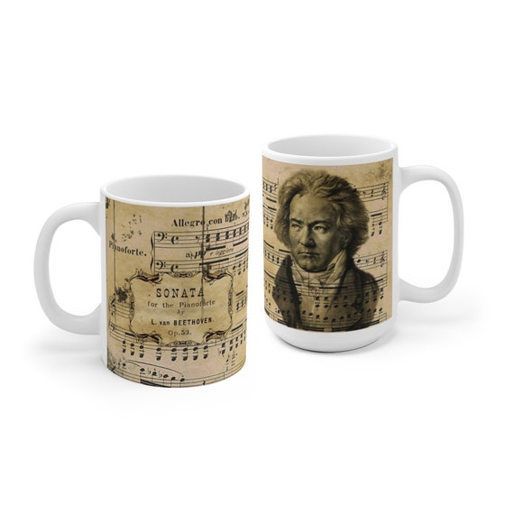 Beethoven Mug, Classical Music coffee cup, Ludwig van Beethoven, gift for musician, german composer, music teacher gift, pianist ceramic mug
