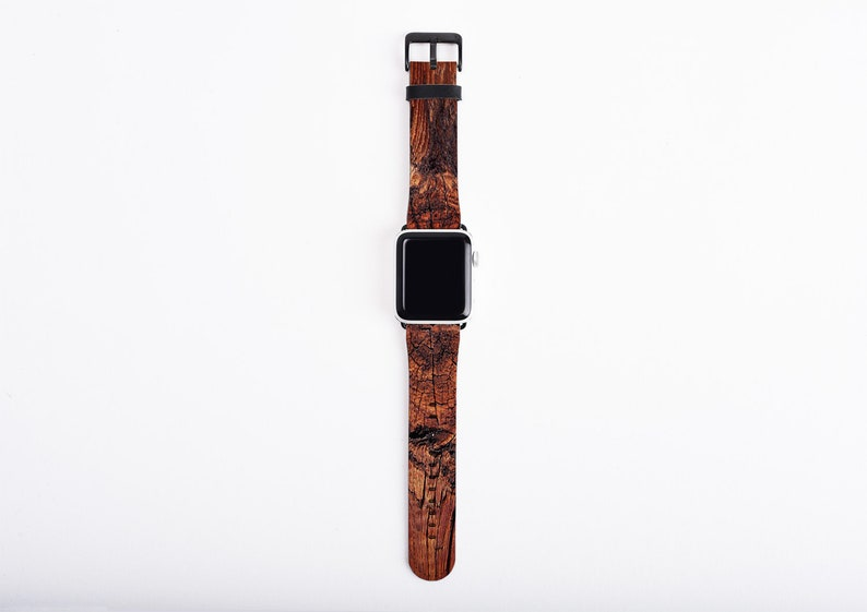 Apple Watch Band 44mm for men artificial leather wood print image 0