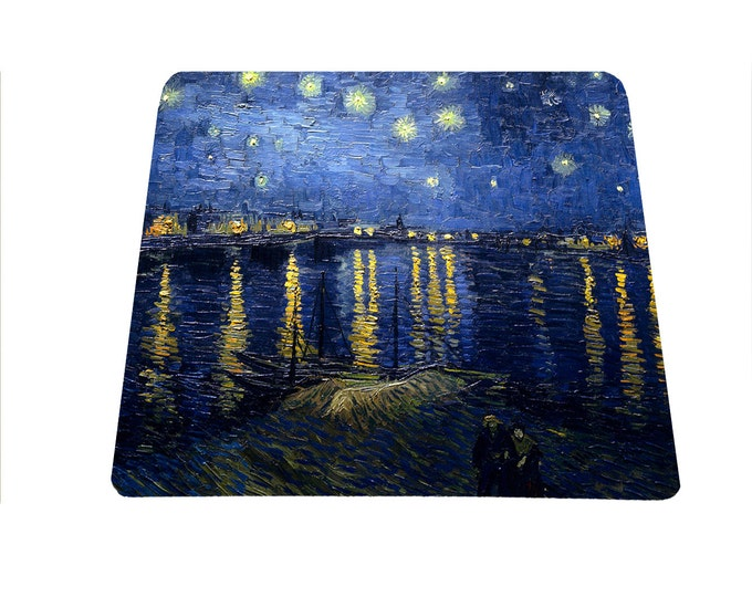 Van Gogh Starry Night over the Rhone Vincent Van Gogh mouse pad Arles France Rhone River mousepad , art lover gift, famous painting