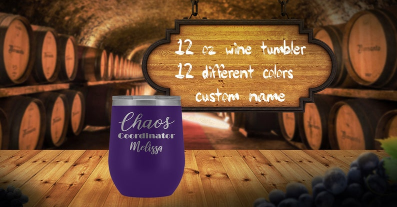 Chaos Coordinator stemless wine tumbler custom name wine image 0